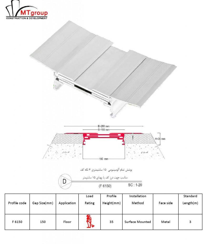 پوشش تمام آلومینیومی 15 سانتیمتری 6 تکه کف
